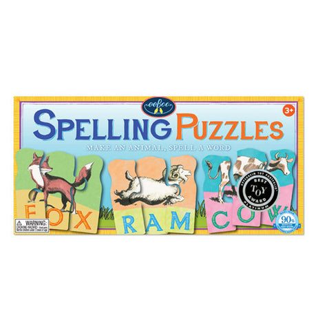 This spelling puzzle box makes an animal spell a word a fox, ram, and a cow