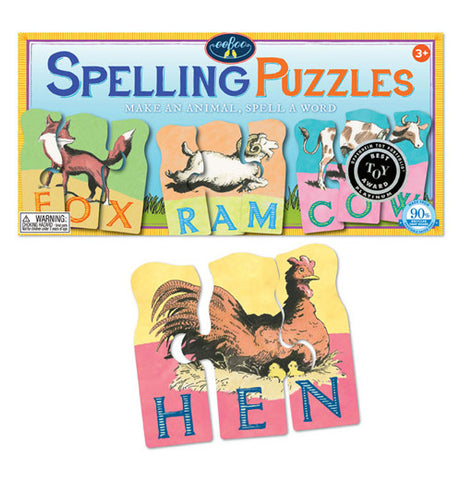 The box for the spelling puzzles with the puzzle of the hen in front of it