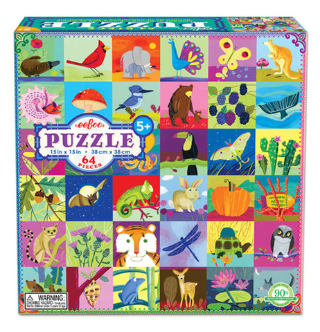 The box for the 64 piece puzzle shows what the puzzle looks like with a bunch of different animals including a bear, a lion, an owl and much more.