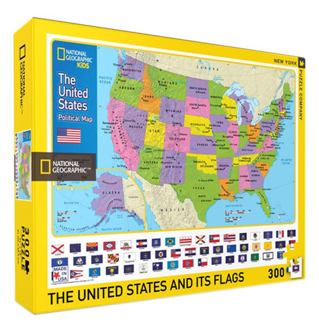 This box contains a 300 piece jigsaw puzzle that features all 50 of the states in the USA and their respective flags.