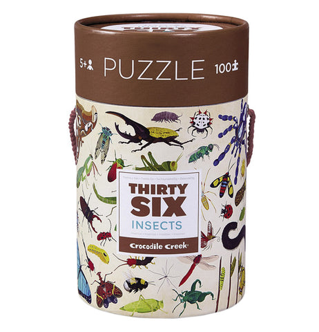 "The ""36 Insects"" with 100 puzzle pieces are packaged inside the canister with a brown lid. The canister has all kinds of insects on it."
