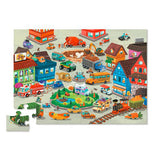 "The ""Busy City"" Puzzle shows a pet themed city and has all the pieces put together except one."