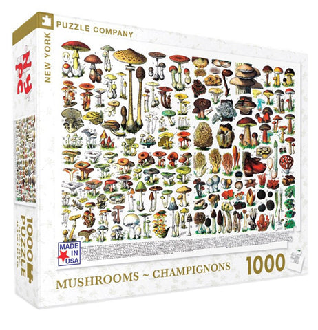 "The box containing a 1000 piece jigsaw puzzle is shown with a large image of different colored mushrooms. The words, ""Mushrooms"" and ""Champignons"" are shown below the image in golden lettering."