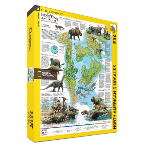 "This box contains a 500 piece jigsaw puzzle that features the North American continent during the age of dinosaurs, with different dinosaurs and other prehistoric creatures adorning the map image. To the left is the National Geographic logo. To the right are the words, ""North American Dinosaurs"" in black lettering."