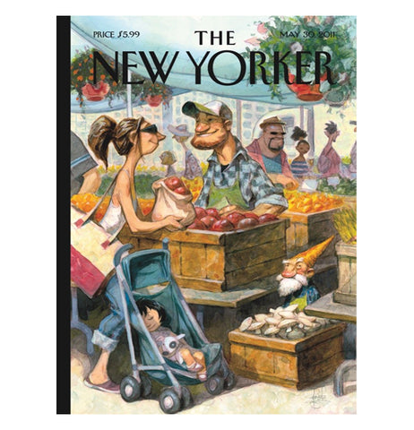 "This picture is of a woman with a baby in a carriage buying apples from a street merchant. The words, ""The New Yorker"" are shown above the image in black lettering."