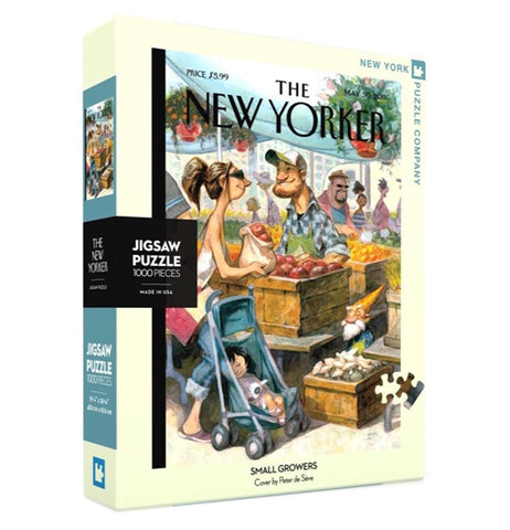 "A box containing a 1000 piece jigsaw puzzle is shown with a picture of a woman with a baby in a carriage buying apples from a street merchant. The words, ""The New Yorker"" are shown above the image in black lettering."