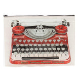 A large pouch with a zipper on top and photo of a classic red typewriter on it.