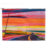 "The ""Sunset Highway' Jumbo Pouch a painted picture of a highway under a watercolor sunset."