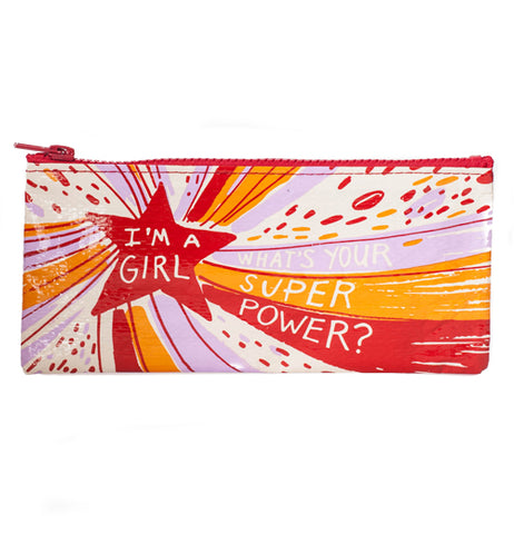 I'm a girl what's your super power pencil case with red star and pink, orange, red, and white stripes over a white background.