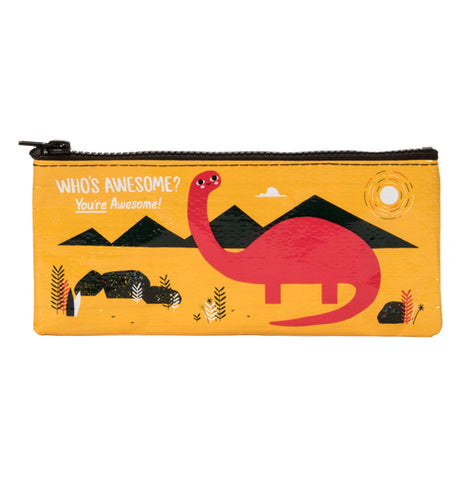 A Red dinosaur that has four legs, a long tail and a long neck on a background of black mountains and rocks on a goldenrod pencil case with the text 'Who's Awesome? You're Awesome!""