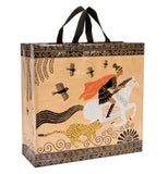 "The ""Hero"" Shopper Tote Bag features a person riding on a white horse wearing an orange cape with a leopard running along side."