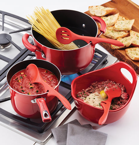 "The Lazy ""Red"" Slotted Spoons are made for holding and stirring pasta, sauces, and chili beans at the pots, simultaneously."