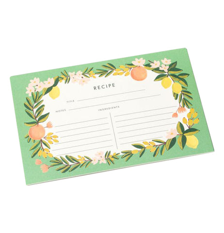 Front of floral citrus recipe cards