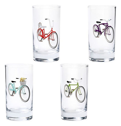 These four ride On Bicycle Glasses have a single bike on each glace there are  blue bikes, red bikes, green bikes and purple bikes on each.