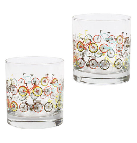 These two scotch Glasses have different colored bikes like orange, yellow, red, esc.
