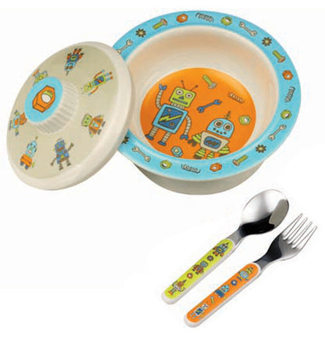 Robot themed bowl with matching lid and spoon and fork.