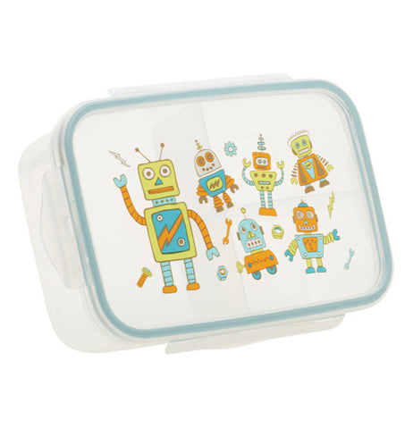 This lunch box container features a design of different size and color robots on it.