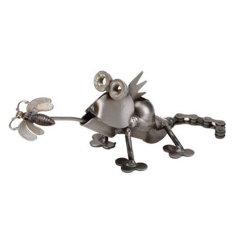 Handcrafted rocker arm lizard with fly is great decoration for your yard to scare away your bugs.