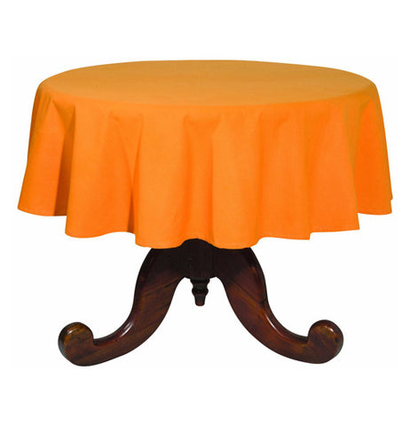 this is an orange round tablecloth and is on a round table