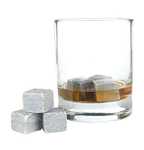 Set of 6 cooling stones to go in your glass instead of ice cubes. Three are in a glass cup with a drink.