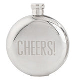 "Vintage inspired flask is shinny silver and say ""Cheers!"""
