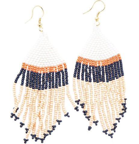 Earrings - Beaded Pink, White, Navy with Coral Stripe Fringe