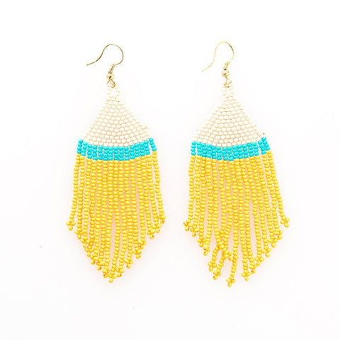 Earrings - Beaded Yellow, Turquoise with Ivory Stripe Fringe