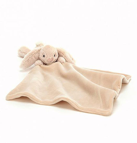 The baby blanket with the stuffed bunny attached is shown unfolded and open.