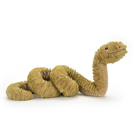 The stuffed snake shown stretched out from the side