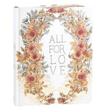 "This notebook features a orange and pink floral print surrounding the message ""All For Love"""