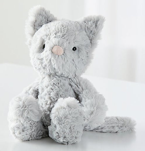 The grey plush squiggle stuffed kitty is shown sitting from a front view.