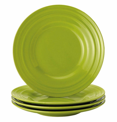 Set of 4  green salad plates.