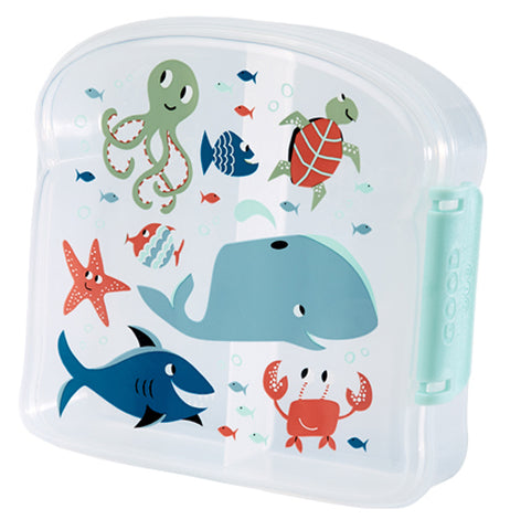This clear plastic sandwich box shows a design of a shark, octopus, turtle, whale, crab, and different fish on its lid.