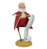 This Santa Claus figurine holds a Christmas list in one hand, and a monocle up to his eye with the other hand.