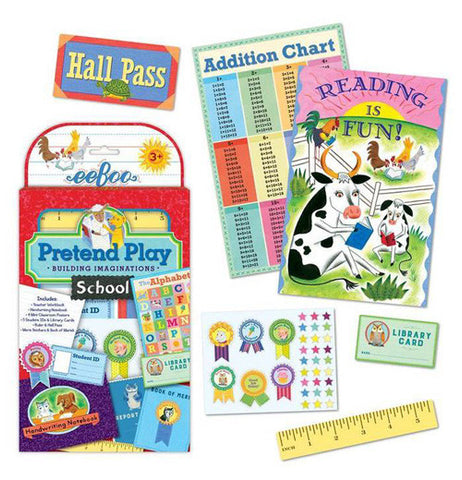 The packaging for the pretend play school kit shown with two posters, a hall pass, merit stickers, library card and ruler