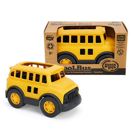 Yellow and black School Bus made from recycled materials