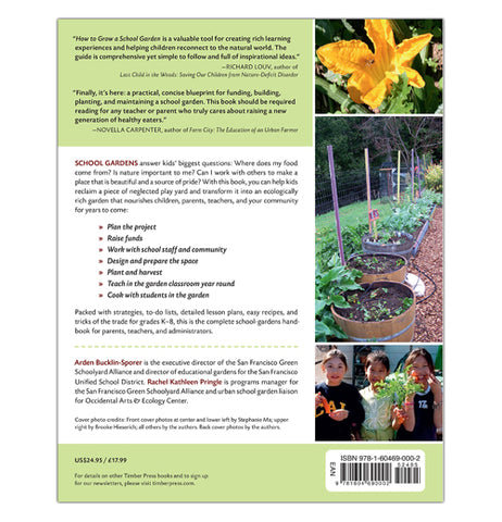 "The ""How to Grow a School Garden"" Book has a description of the book contents on the left of the a column of pictures of plants and flowers."