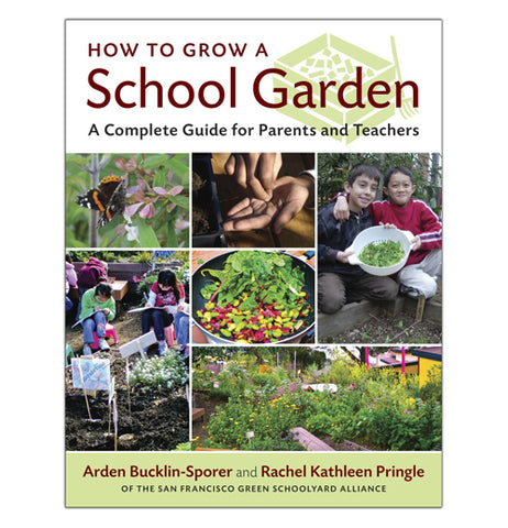 "This hard covered book is called ""How to Grow a School Garden, the complete guide for parents and teachers."" There's pics of people working with plants and veggies on the front cover."