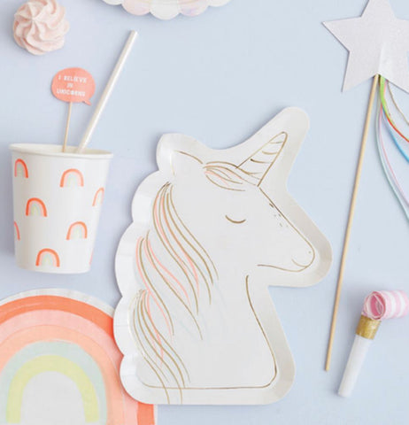 "Plates, Paper (Set of 8) ""Unicorn"""