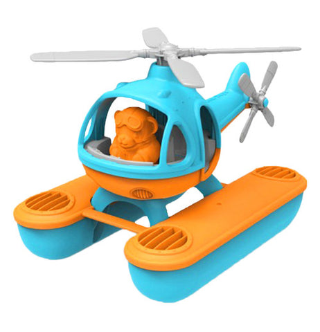 Yellow and teal helicopter with orange pilot.