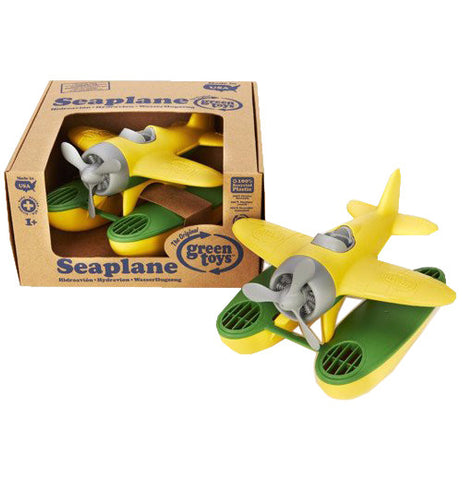 Yellow Sea Plane with green accents made from recycled materials