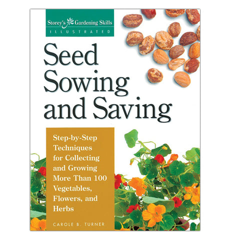 "The ""Seed Sowing and Saving"" Book has front cover of a picture of seeds on the top and flowers on the bottom."