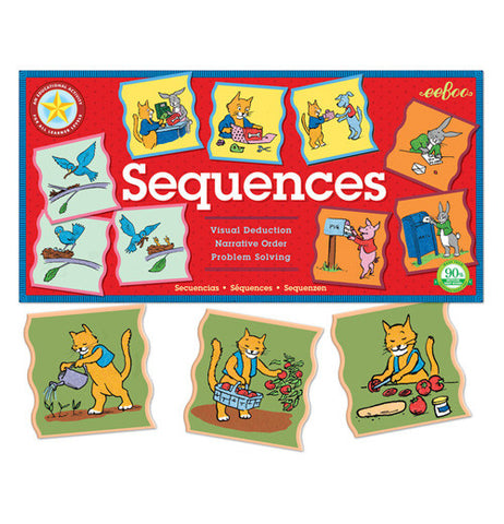 "The puzzles pieces shows the cat the seeds for tomatoes, and once the tomatoes are grown, it is being picked and used as tomato sauce for the pizza shown below the ""Sequences"" Educational Game Set."