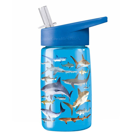 """Shark"" light blue drinking bottle with dark blue flip straw lid on."