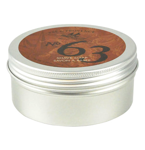 "This metal tin has a lid with the brand, ""No. 63"" in black lettering against a brown background."