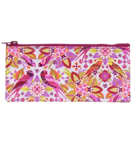 "The ""Six & A Half Birds"" Pencil Case features a pink, red, yellow, and orange birds on a floral design."