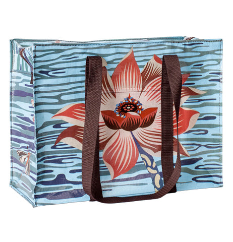 This blue zip-up bag features a red lotus flower against a blue water background. It also has brown handles.
