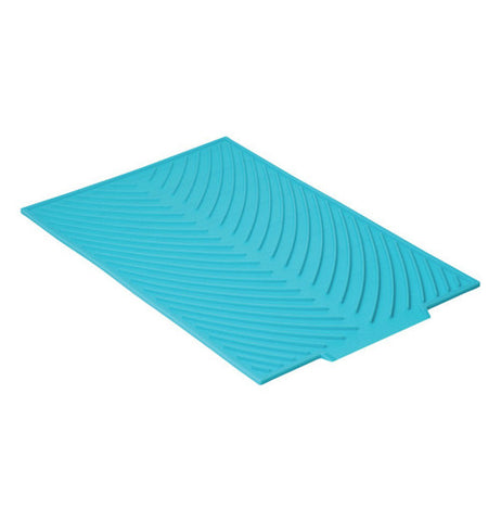 Blue Silicone Drying Mat with a Chevron Stripes