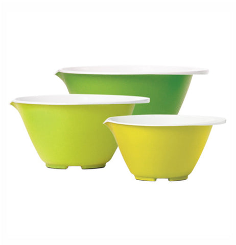 This set of 3 nesting bowls are different shades of green. There are 3 different sizes.