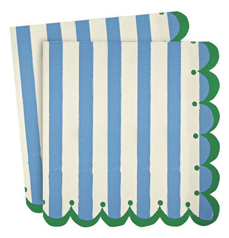Napkins that are white and blue stripped with green scalloped edges.